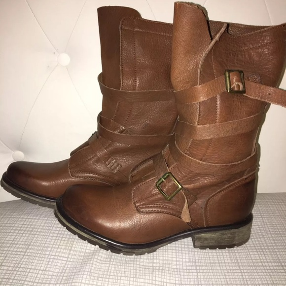 "04a0678e7fb RARE BROWN Steve Madden ""Banddit"" Leather boots. M 5aa05c9861ca1058636b801d"